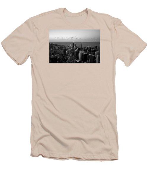 Chicago Skyline Bw Men's T-Shirt (Slim Fit) by Richard Zentner