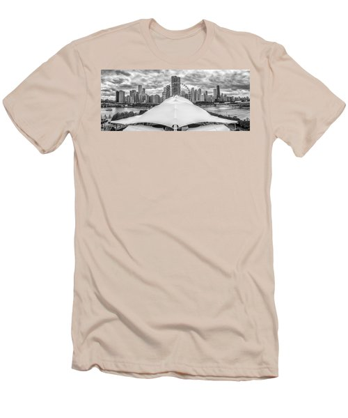 Men's T-Shirt (Slim Fit) featuring the photograph Chicago Skyline From Navy Pier Black And White by Adam Romanowicz