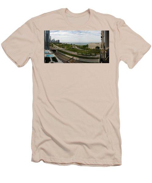 Chicago Skyline Showing Monroe Harbor Men's T-Shirt (Slim Fit) by Michael Bessler