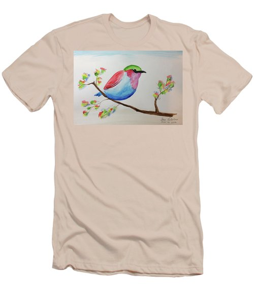Chickadee With Green Head On A Branch Men's T-Shirt (Athletic Fit)