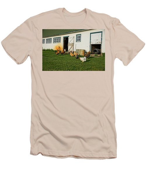 Chickens By The Barn Men's T-Shirt (Slim Fit) by Steven Clipperton