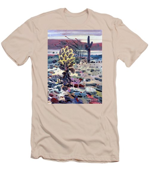 Cholla Saguargo And Ocotillo Men's T-Shirt (Slim Fit) by Donald Maier