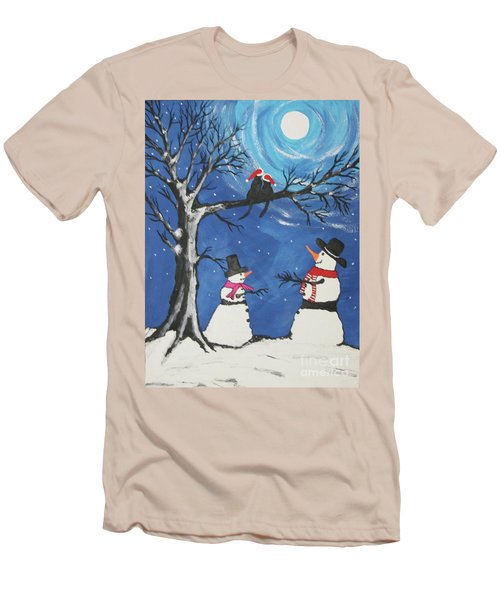 Christmas Cats In Love Men's T-Shirt (Slim Fit) by Jeffrey Koss