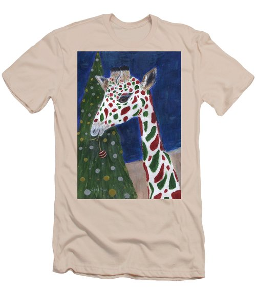 Men's T-Shirt (Athletic Fit) featuring the painting Christmas Giraffe by Jamie Frier