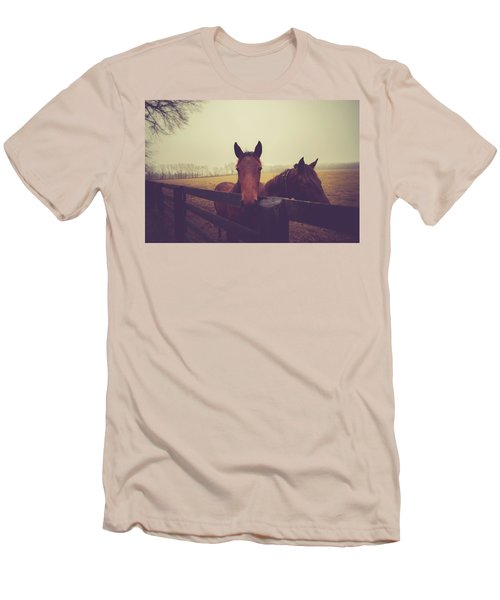 Men's T-Shirt (Slim Fit) featuring the photograph Christmas Horses by Shane Holsclaw