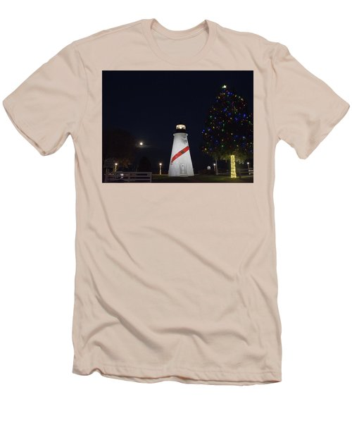 Christmas Lighthouse Men's T-Shirt (Athletic Fit)