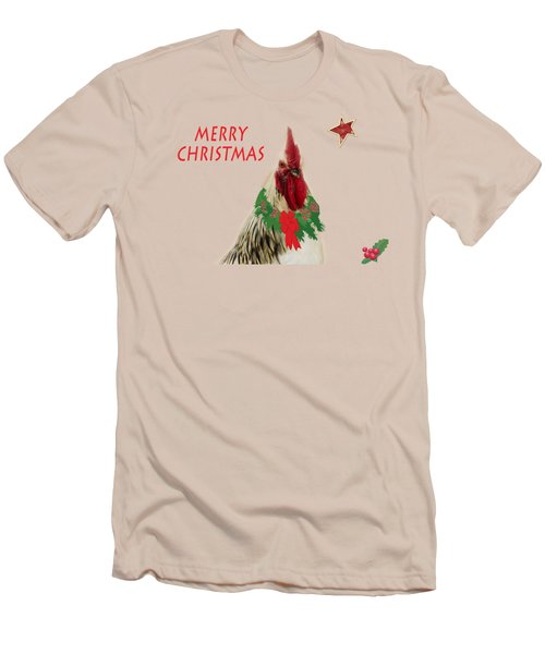 Christmas Rooster Tee-shirt Men's T-Shirt (Slim Fit) by Donna Brown