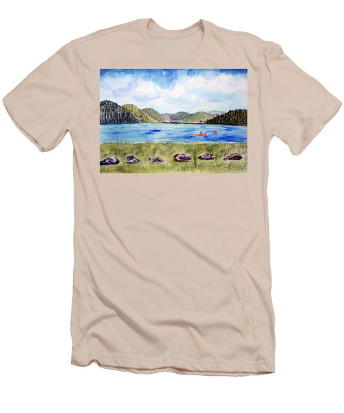 Men's T-Shirt (Slim Fit) featuring the painting Chrystal Lake  Barton Vt  by Donna Walsh