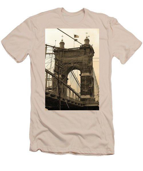 Cincinnati - Roebling Bridge 4 Sepia Men's T-Shirt (Slim Fit) by Frank Romeo