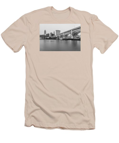 Cleveland Skyline In Black And White  Men's T-Shirt (Slim Fit) by John McGraw