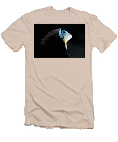 Close-up Channel-billed Toucan, Ramphastos Vitellinus, Isolated On Black Men's T-Shirt (Slim Fit) by Sergey Taran