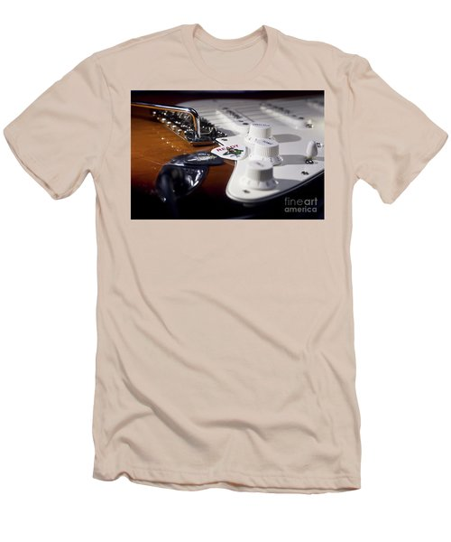 Men's T-Shirt (Slim Fit) featuring the photograph Close Up Guitar by MGL Meiklejohn Graphics Licensing
