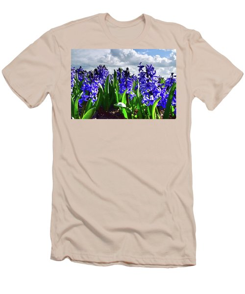 Clouds Over The Purple Hyacinth Field Men's T-Shirt (Slim Fit) by Mihaela Pater