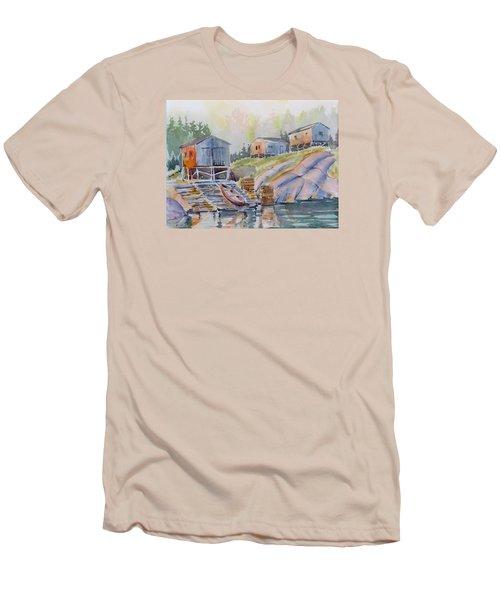 Coastal Village - Newfoundland Men's T-Shirt (Slim Fit) by David Gilmore