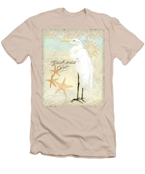 Coastal Waterways - Great White Egret 3 Men's T-Shirt (Slim Fit) by Audrey Jeanne Roberts