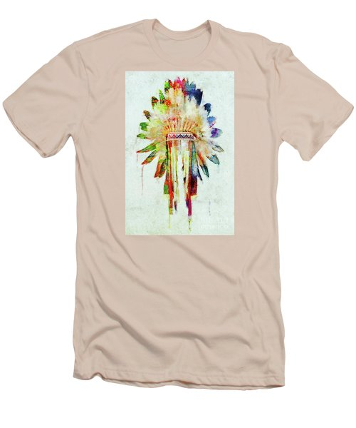 Colorful Lakota Sioux Headdress Men's T-Shirt (Slim Fit) by Olga Hamilton