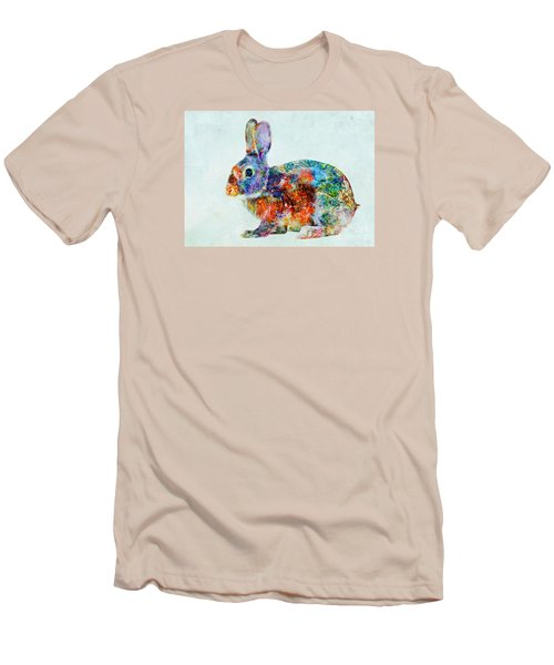 Colorful Rabbit Art Men's T-Shirt (Slim Fit) by Olga Hamilton