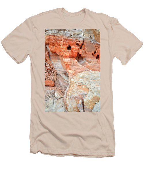 Men's T-Shirt (Slim Fit) featuring the photograph Colorful Wall Of Sandstone In Valley Of Fire by Ray Mathis