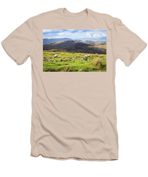 Men's T-Shirt (Slim Fit) featuring the photograph Colourful Undulating Irish Landscape In Kerry With Grazing Sheep by Semmick Photo