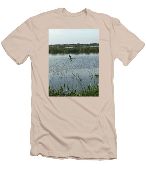 Men's T-Shirt (Slim Fit) featuring the photograph Coming In For A Landing by Kay Gilley