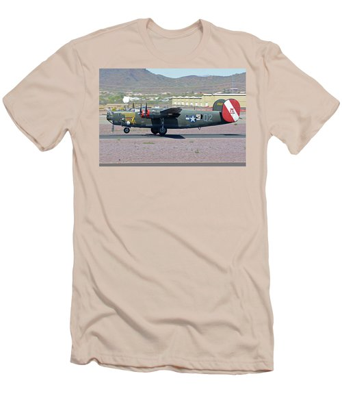 Men's T-Shirt (Slim Fit) featuring the photograph Consolidated B-24j Liberator N224j Witchcraft Deer Valley Arizona April 13 2016 by Brian Lockett
