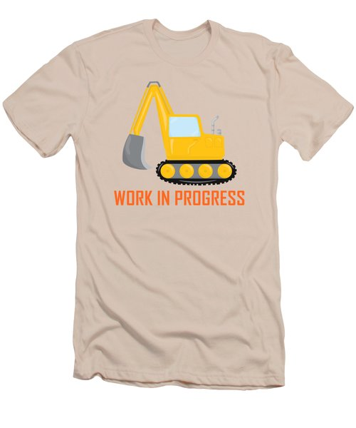 Construction Zone - Excavator Work In Progress Gifts - Yellow Background Men's T-Shirt (Athletic Fit)