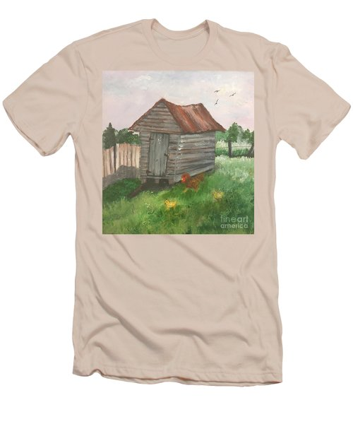 Men's T-Shirt (Slim Fit) featuring the painting Country Corncrib by Lucia Grilletto