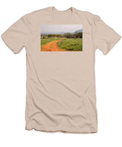Country Road With Wild Flowers Men's T-Shirt (Athletic Fit)