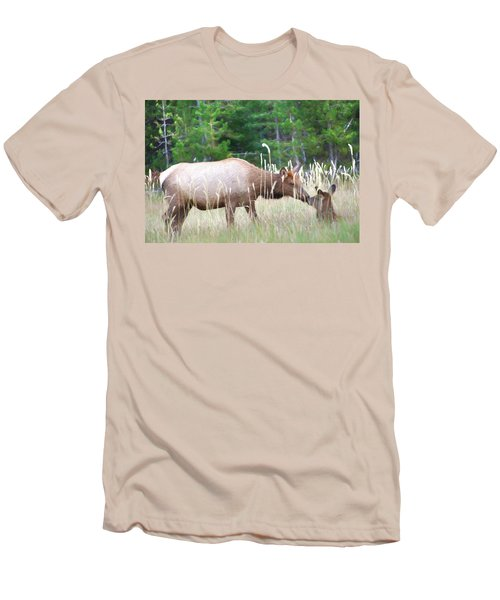 Cow Elk And Spring Baby Men's T-Shirt (Athletic Fit)