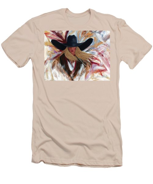 Men's T-Shirt (Slim Fit) featuring the painting Cowgirl Colors by Lance Headlee