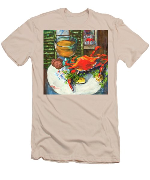 Men's T-Shirt (Slim Fit) featuring the painting Crab And Crackers by Dianne Parks