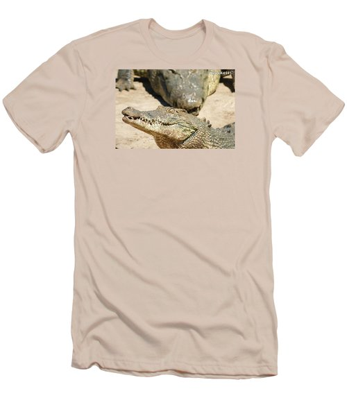 Men's T-Shirt (Slim Fit) featuring the photograph Crazy Saltwater Crocodile by Gary Crockett