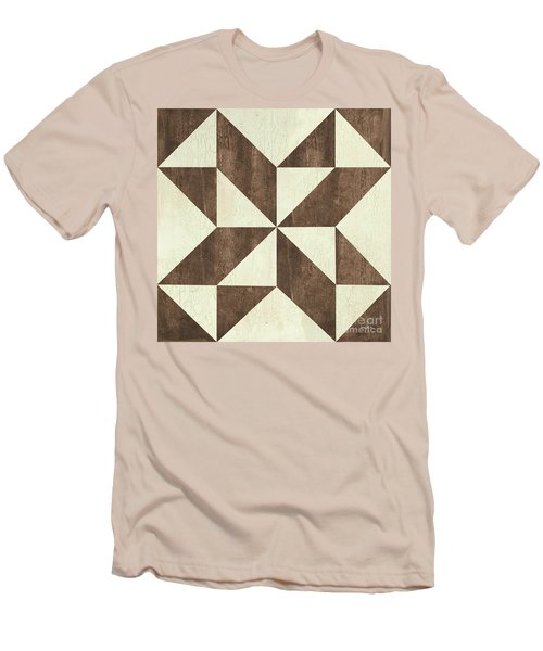 Men's T-Shirt (Slim Fit) featuring the painting Cream And Brown Quilt by Debbie DeWitt
