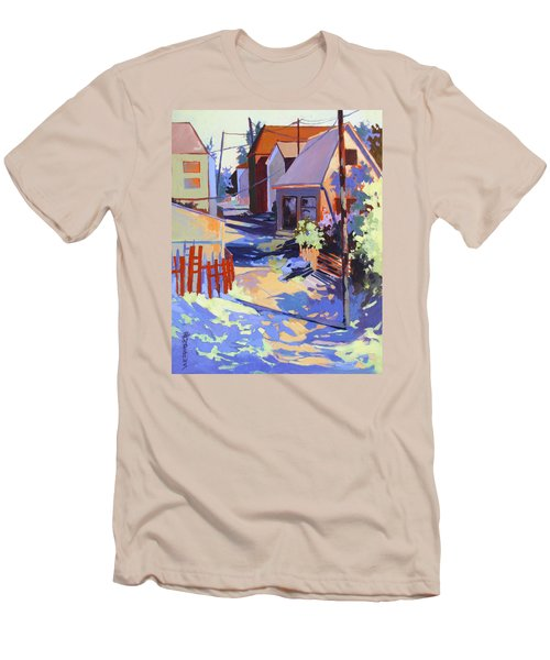 Men's T-Shirt (Slim Fit) featuring the painting Crisscross by Rae Andrews