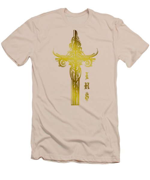 Cross Ihs Gold Men's T-Shirt (Athletic Fit)