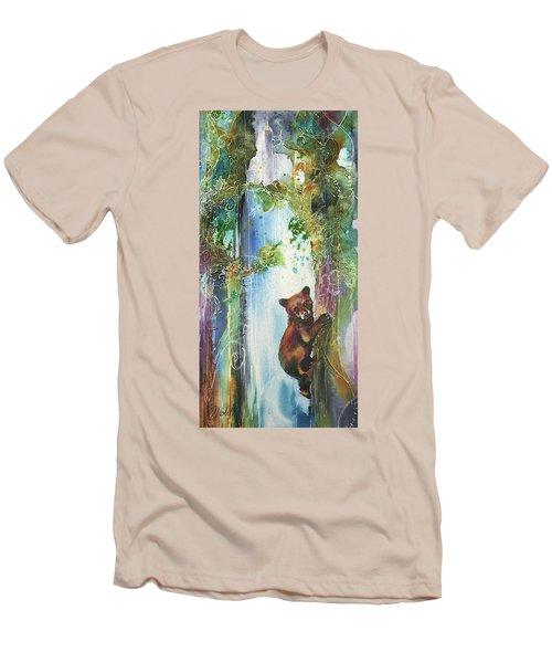 Cub Bear Climbing Men's T-Shirt (Slim Fit) by Christy Freeman