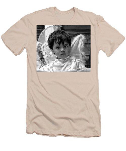 Men's T-Shirt (Slim Fit) featuring the photograph Cuenca Kids 893 by Al Bourassa