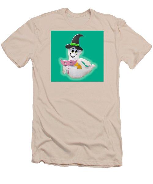 Men's T-Shirt (Slim Fit) featuring the digital art Cute Glowing Ghost by Karen Nicholson