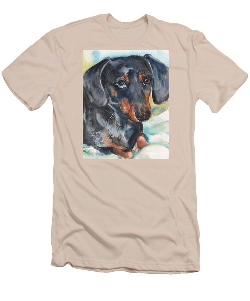 Dachshund Portrait In Watercolor Men's T-Shirt (Slim Fit) by Maria's Watercolor