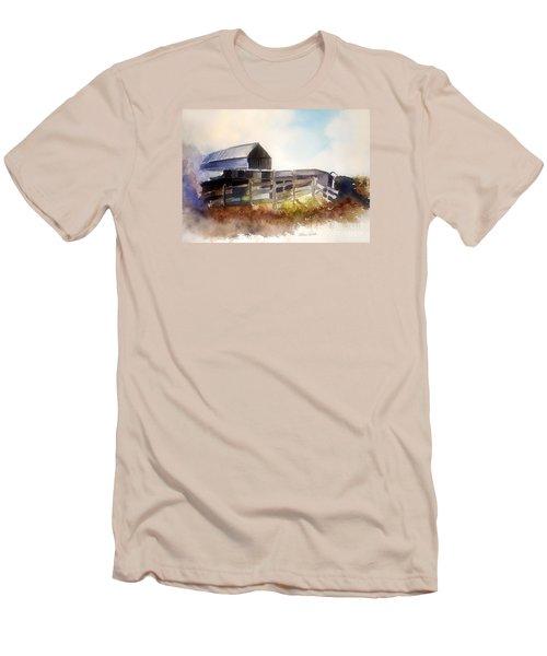 Men's T-Shirt (Slim Fit) featuring the painting Dad' Farmhouse by Allison Ashton