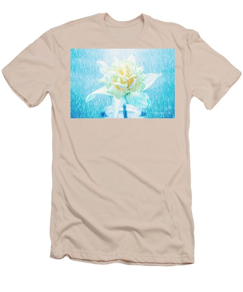 Men's T-Shirt (Athletic Fit) featuring the photograph Daffodil Flower In Rain. Digital Art by Jorgo Photography - Wall Art Gallery