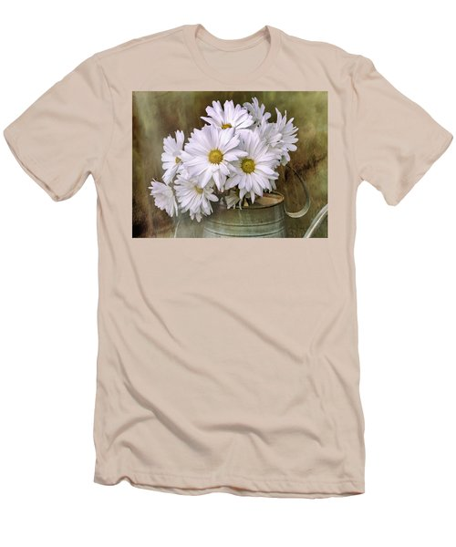 Men's T-Shirt (Athletic Fit) featuring the photograph Daisies In Antique Watering Can by Bellesouth Studio