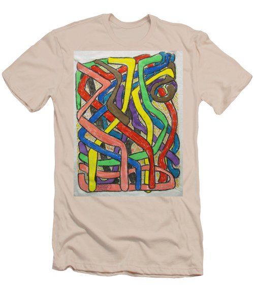 Men's T-Shirt (Slim Fit) featuring the painting London Bus Routes by Mudiama Kammoh