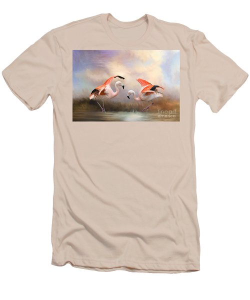 Men's T-Shirt (Slim Fit) featuring the photograph Dance Of The Flamingos  by Bonnie Barry