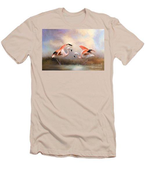 Dance Of The Flamingos  Men's T-Shirt (Slim Fit) by Bonnie Barry