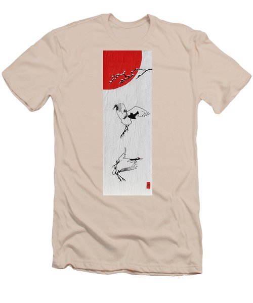Dancing Cranes Men's T-Shirt (Athletic Fit)