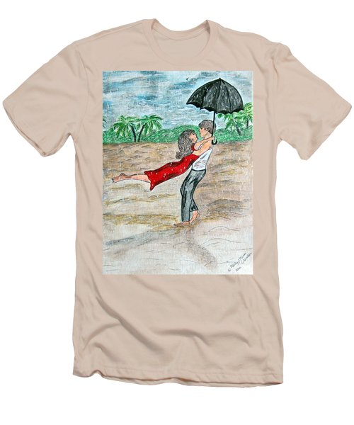 Men's T-Shirt (Slim Fit) featuring the painting Dancing In The Rain On The Beach by Kathy Marrs Chandler