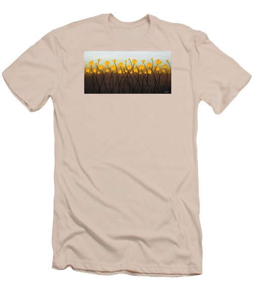 Men's T-Shirt (Slim Fit) featuring the painting Dancing Tulips by Carmen Guedez