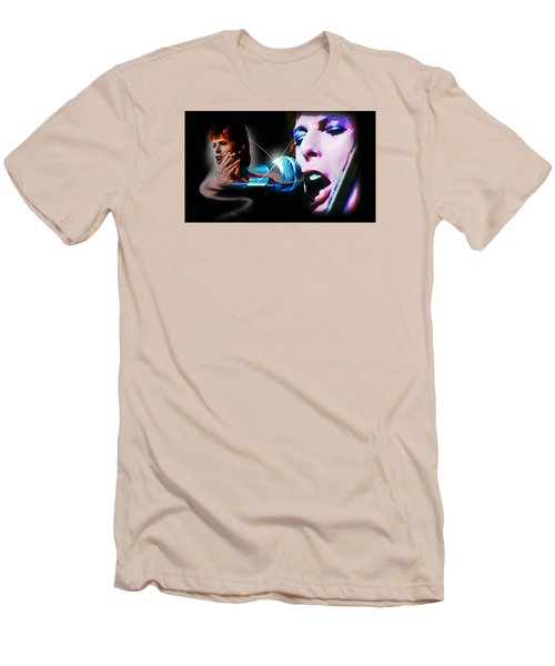 David Bowie  - Jean Genie Men's T-Shirt (Slim Fit) by Glenn Feron