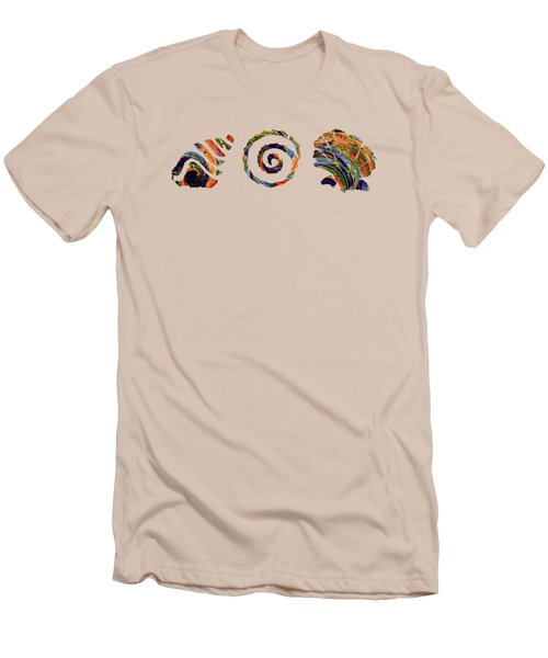 Men's T-Shirt (Slim Fit) featuring the digital art Deep Sea Shell Trio by Deborah Smith